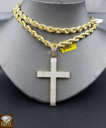 Real 10k Gold Rope Chain Necklace 22 6mm And Genuine 1.52ct Diamond Cross Pendant