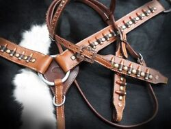 Showman Ammo Belt Bullet Concho Leather Bridle Breast Collar And Split Reins Set