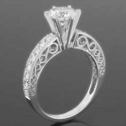 ACCENTED DIAMOND RING ROUND 2.59 CT 18K WHITE GOLD ORNAMENT VVS1 WOMENS NEW