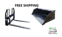 Es New 84 Snow/mulch Bucket And Walk Through Pallet Forks Combo Skid Steer