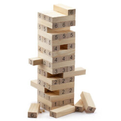 54-piece Wooden Giant Tumbling Timbers. Block Stacking Game. 32 Tall