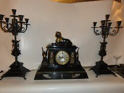 French Empire Egyptian Revival Orientalist Partial Gilt Bronze Marble Clock St