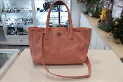 Chanel Bag Executive Tote 2 way Shoulder Leather Pink Gold Hardware Coco Mark AU $1499.00