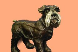 Handmade Bronze Sculpture English Terrier Dog Detailed Artwork Figurine Art Deco