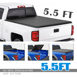 Soft Tri-Fold Vinyl Fold Tonneau Cover 5.5ft Truck Short Bed For 14-18 Ford F150