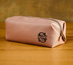 Leather Makeup bag Toiletry Bag Leather Bag with monogram
