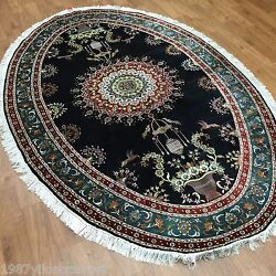 Yilong 5x8 Hand Knotted Oval Home Silk Rug Persian Oriental Floral Black Carpet