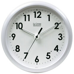 403 310 La Crosse Illuminations 10quot; Analog Wall Clock with Glowing Hands White