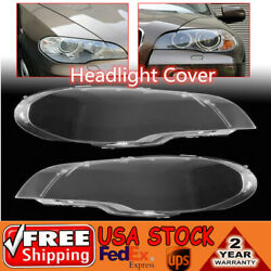 2X Front Clear Headlight Lens Lamp Plastic Cover Shell For BMW 2008-2013 X5 E70