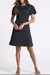 Mands Collection Embossed Jacquard Short Sleeve Shift Dress Navy
