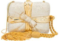 Judith Leiber Gift Wrapped Bow Rhine Gold Minaudiere Evening Bag Clutch Vintage