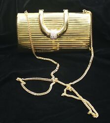 Vtg Gold Tone Rhinestone Evening Bag Clutch Another Y and S Original