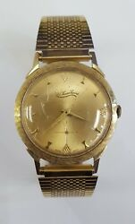 Vintage Lucien Piccard Hand Wind Watch 14k Solid Gold Case Stainless Steel Band
