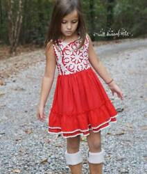 Girls WDW Well Dressed Wolf Red Snowflake dress Size 7 years EUC