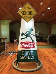 RARE Vintage Antique 1950's Coca Cola Wooden School Zone Sign Completely Intact!