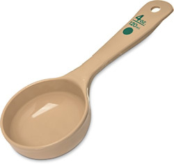 Carlisle 432806 Solid Short Handle Portion Control Spoon 4 oz Beige