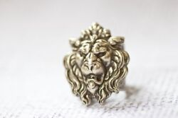 Game Of Thrones Lanister Lion Ring Adjustable Vintage Style Band 10k White Gold