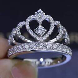Certified 0.71ct Round Cut Diamond 10k White Gold Queen Crown Engagement Ring