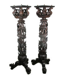 Antique 19th C Couple Pair Chinese Torches Pedestal Plant Bonsai Stand Dragons