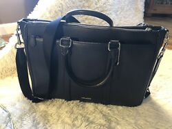 Coach F59057 Mens Perry Slim Briefcase Crossbody Laptop Bag Leather Midnight