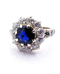 Vintage Ladies 14k Yellow Gold Natural Blue Sapphire Ring