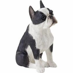 Sandicast Small Size Boston Terrier Sculpture Sitting