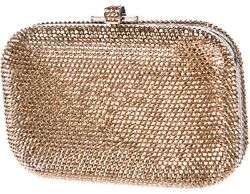 Judith Leiber Champagne Copper Gold Silver Tone Slidelock Evening Bag Clutch NEW