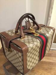 AUTH TRAVEL GUCCI TRAIN CASE BEAUTY BAG COSMETIC DOCTOR TOILETRY LUGGAGE VANITY