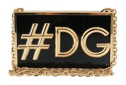 NEW $2500 DOLCE & GABBANA Bag BOX #DG Gold Metal Shoulder Evening Party Clutch