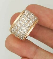 Estate 1.50 Ct 14k 583 Rose Gold Round Diamond Ladies Thick Band Ring Russian Vs