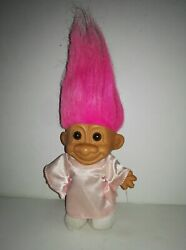 Vintage Russ Troll Doll With Satin Pink Dress Pink Hair Brown Eyes 80-90and039s