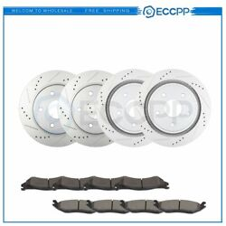 Ceramic Brake Pads And Rotors Front Rear For Dodge Ram 1500 Durango Drilled