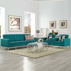 Modway Loft 3 Piece Upholstered Fabric Sofa And Armchair Set In Teal