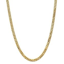 14k Yellow Gold 6.25mm Solid Beveled Curb Link Chain W/ Lobster Clasp 18 - 28