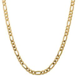 14k Yellow Gold 7.5mm Solid Concave Open Figaro Link W/ Lobster Clasp 18 - 28