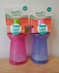Evenflo Triple-flo Sippy Cups - Pink And Purple - 10 Oz - 9m+