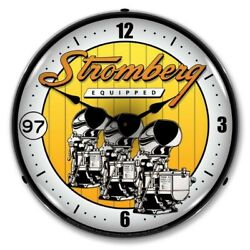 Retro Style Stromberg Equipped Backlit Led Lighted Man Cave Game Room Wall Clock