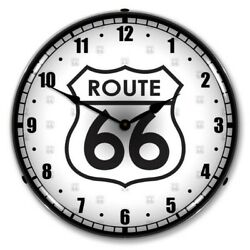 Retro Nostalgic Route 66 Led Lighted Man Cave Game Room Wall Clock Sign New