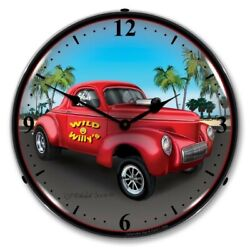 Retro Nostalgic Style Willys Gasser Led Lighted Backlit Wall Clock Sign Man Cave