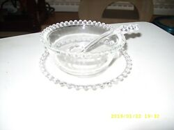 Candlewick Condiment Bowl with Underplate and Spoon