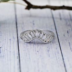 14k White Gold Wedding Band Features Total 1.27ct Of Baguettes White Diamonds.