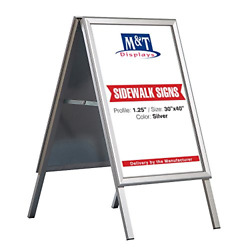 Double Sided A Frame Poster Menu Sidewalk Sign Display Outdoor 30x40 Mitred