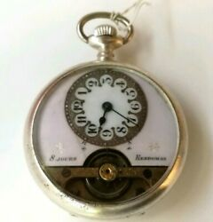 Antique 8 Jours Hebdomas Pink Dial Open Face Pocket Watch Swiss 8 Day