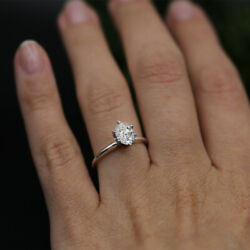 14k White Gold Solitaire Diamond Engagement Ring Features 1.00 Tcw Diamond