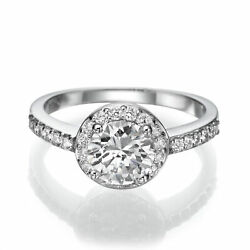 DIAMOND RING HALO 14 KT WHITE GOLD VS1 COLORLESS 2.63 CARAT AUTHENTIC MICRO PAVE