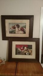 1920s Original JOHN EDWIN NOBLE UK Dog POINTER IRISH FOX TERRIER TWO Painting s