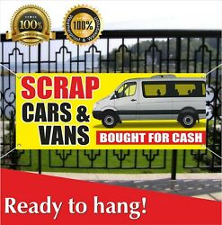 Scrap Cars Bought For Cash Banner Vinyl / Mesh Banner Sign Auto Used Pawn