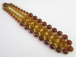 Vtg Two Tone Honey Amber Faceted Lucite Beaded Two Strand Necklace
