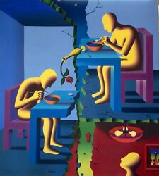 RARE LARGE ORIGINAL MARK KOSTABI '' A BROKEN HOME''  48X44 CANVAS