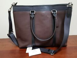 COACH F57568 Business Tote Crossbody Bag Men's Leather Black Mahogany NWT
